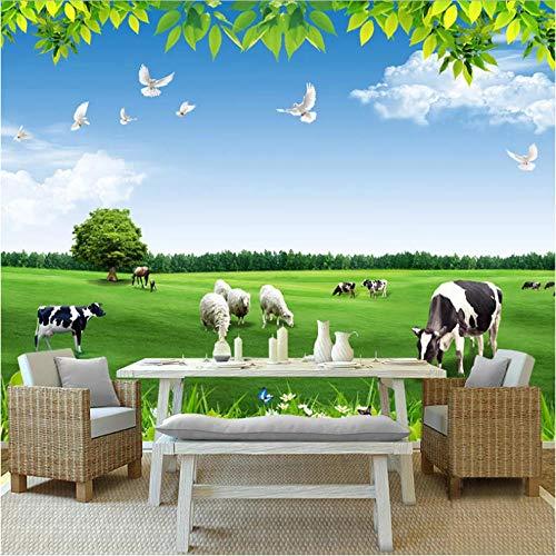 Wuyii fotobehang papier blauwe hemel witte wolken koeien groenland natuurlandschap 3D-foto achtergrond woonkamer slaapkamer behang 120 x 100 cm.