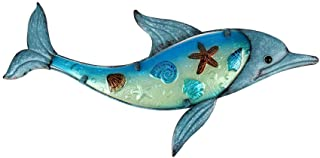 Liffy Metal Dolphin Wall Art Outdoor Sea Decor Hanging Decorative Glass Sculpture Blue for Patio, Deck or Garden
