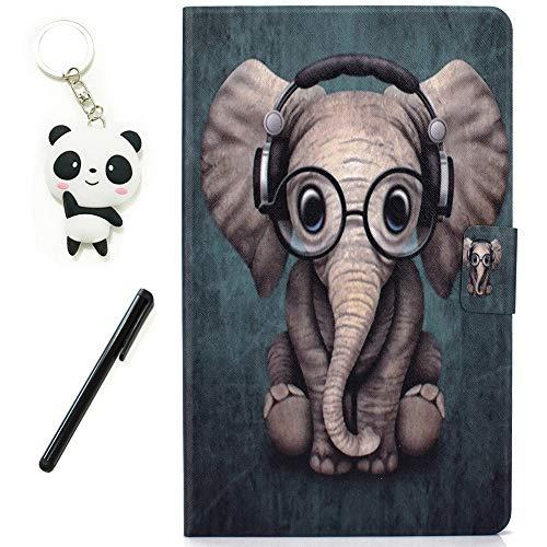 HereMore Funda para Huawei MediaPad T3 10 9.6 Pulgadas, Cubierta de Cuero Case Antichoque Protectora Cascara Trasera de Silicona con Ranuras para Documentos, Elefante