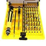 Juego de destornilladores Torx profesionales 45 en 1 Reloj de precisión Computadora Samsung Herramienta de desmontaje de reparación de teléfonos inteligentes-Amarillo