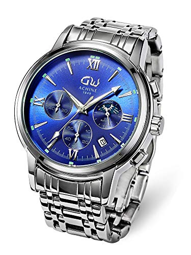 ACHINE Men's Watches Waterproof Modern Fashion Minimalist Casual Stainless Steel Watches for Men 41mm Quartz Analog Sport Blue Chronograph Watch with Auto Date …