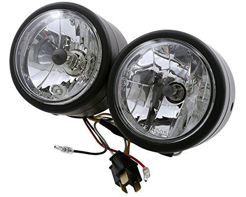 Scheinwerfer Doppelscheinwerfer, schwarz, Birnen 1 x H4, 1 x H7, Motorrad, Quad