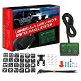 6 Gang Switch Panel, DJI 4X4 Electronic Relay System Circuit Control Box Waterproof Universal Fuse Relay Box with Wiring Harness Assemblies kit for Truck Marine Boat ATV UTV Camper