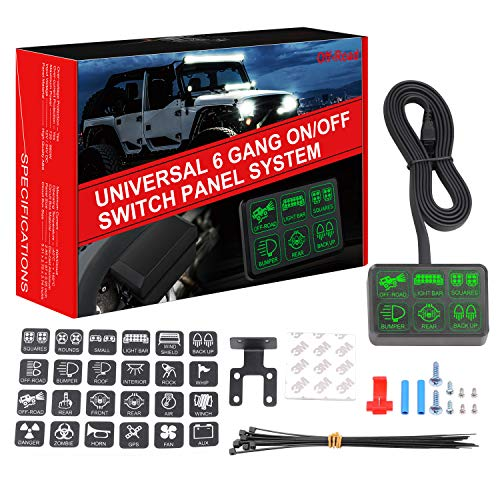 6 Gang Switch Panel, DJI 4X4 Electronic Relay System Circuit Control Box Waterproof Universal Fuse Relay Box with Wiring Harness Assemblies kit for Truck Marine Boat Jeep Wrangler ATV UTV Camper
