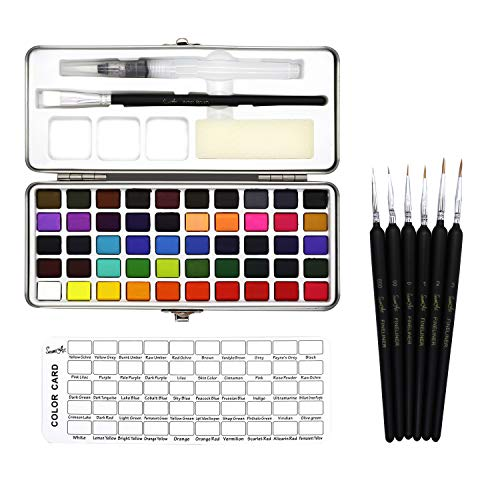 50 Color Solid Watercolor Paint Set Portable Metal Box Watercolor Pigment for Beginner Drawing Watercolor Paper Supplies (50 Color, Free)