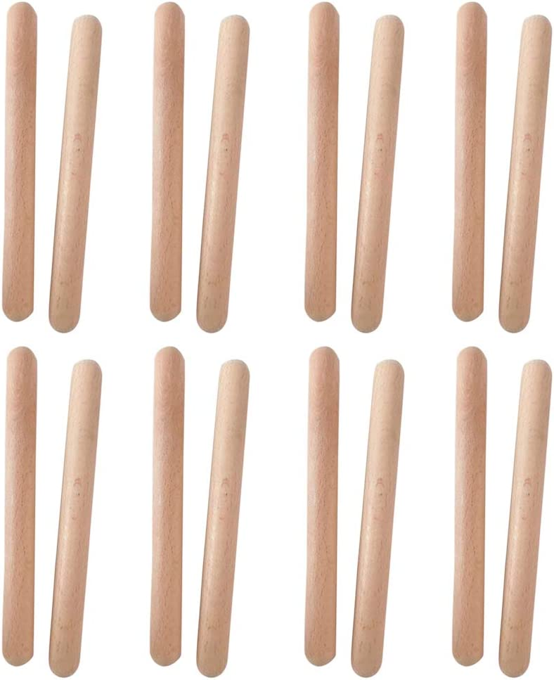 Tree2018 Classical Wood Claves Musical Percussion Instrument,7.8 Inch Natural Hardwood Rhythm Sticks Better Than Drumsticks for Adults and Kids 8 Pairs