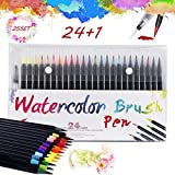 Brush Pen 24 Pennarelli per Acquerelli + 1 Pennello Acqua con Punta in Nylon Flessibile pe...