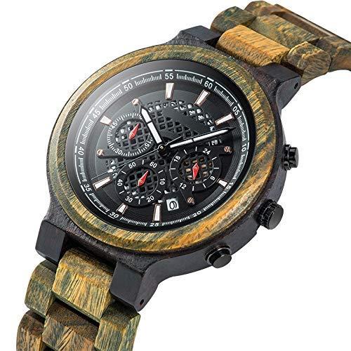Leyue Reloj de Madera Deportivo para Hombres, Camuflaje Individual Fecha Deportiva Fecha cronógrafo Reloj de Madera de Cuarzo para Hombre