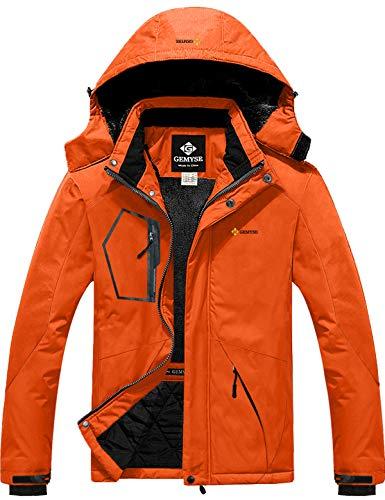 GEMYSE Men's Mountain Waterproof Ski Snow Jacket Winter Windproof Rain Jacket (Orange,Small)