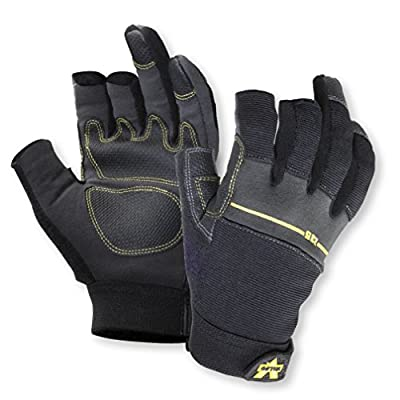 Valeo Industrial V235 Work Pro Open Finger Synthetic Leather Work Gloves for General Purpose, Framing, Electrical Work, Construction, Handyman, and DIY VI4848, Pair, Black, Small