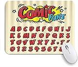 PATINISA Alfombrilla Raton Ordenador,Comic Retro Font Set Letras de Alfabeto de Dibujos Animados Retro y número en Comic,Alfombrilla Suave Gaming para Ratón Adecuado