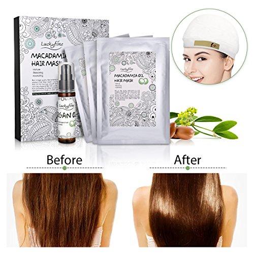 Maschera capillare Luckyfine Maschera per capelli, maschera per capelli ricca di olio di argan per riparare capelli secchi, danneggiati o ricci, adatti a tutti i tipi di capelli
