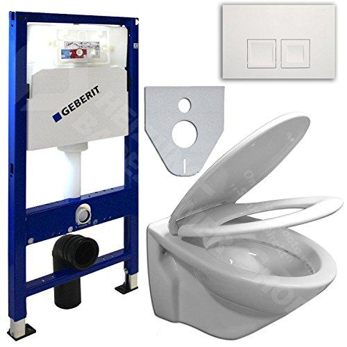 GEBERIT Duofix UP100 Vorwandelement , Wand WC beschichtet, WC-Sitz Soft-Closin (Delta 50 Chrom seidenglanz / eckig)