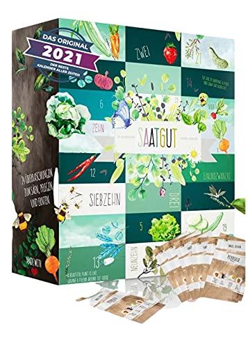 Saatgut Adventskalender für Gärtner zum einsäen I 24 leckere Sorten Gemüse, Kräuter und Obst für den Garten I Geschenkset Gärtner Geschenkidee Frauen Garten