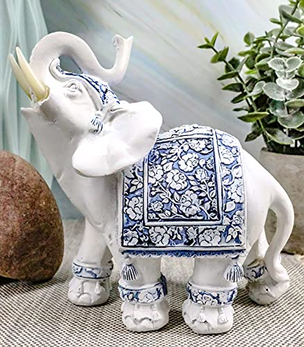 """Ebros Feng Shui Ming Style Blue and White Ornate Floral Design with Trunk Up Left Facing Elephant Statue 5.25"""" High Vastu Zen Elephants Figurine Symbol of Wisdom Wealth Fortune Success and Protection"""