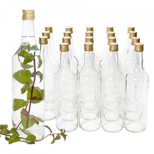 Van Well 20er Set glazen flessen met schroefsluiting Venezia | vulbare fles 1L voor likeur, jenever & bier