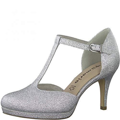 Tamaris Damen Riemchen Pumps, Frauen Pumps,Touch It-Fußbett,elegant,weiblich,Lady,Ladies,Women's,Woman,Court,Shoes,Office,Silver Glam,37 EU / 4 UK