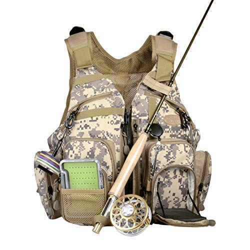 ANGLER DREAM Fly Fishing Pack Outdoor Sports Mesh Vest Pack/Chest Pack/Sling Pack/Back Pack Universal Adjustable Fishing Hunting Hiking Fishing Pack with Storage Compartments
