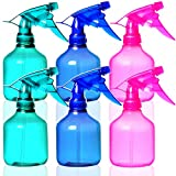 Youngever 6 Pack Empty Plastic Spray Bottles, Spray Bottles for Hair and Cleaning Solutions, 3 Assorted Colors (12 Ounce)