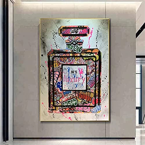 Ivpss Graffiti Street Art Perfume Lienzo Impresión Pintura Poster Imagen De Pared Moda Moda Moda Mujer Sala De Estar Decoración Para El Hogar Cuadros. 50x75cm NoFramed