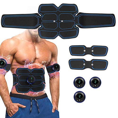 Estimulador muscular eléctrico, EMS Estimulador muscular abdominal Smart Fitness Massage Sticker Pantalla...