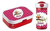 wolga-kreativ Brotdose Obsteinsatz Bento Box und Trinkflasche auslaufsicher BPA frei für Kinder Rosti Mepal für Mädchen Jungen Eule am AST personalisiert mit Namen Lunchbox Brotbox Kindergarten Set