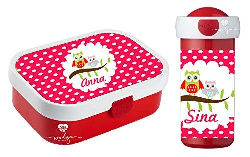 *wolga-kreativ Set Eulen Brotdose mit Obsteinsatz und Trinkflasche Kinder mit Namen personalisiert*