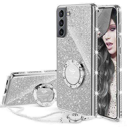 OCYCLONE Hülle Kompatibel mit Samsung Galaxy S21, Glitzer Diamant Handyhülle mit Trageband & Handy Ring Ständer Schutzhülle für Galaxy S21 Handy Hülle für Mädchen Frauen, [6,2 Zoll] (Silber)