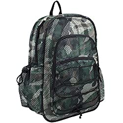 Eastsport XL Semi-Transparent Mesh Backpack with Comfort Padded Straps and Bungee