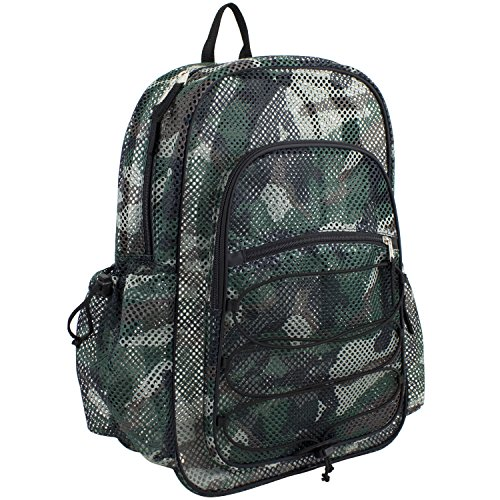 Eastsport XL Semi-Transparent Mesh Backpack with Comfort Padded Straps and Bungee, Black Camo