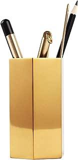 Pencil Cup Holder Desk Organizer,Gold Pen Pot Pen Holder Container Desktop Stationery Organizer Vintage Geometric Table Vases Flower Pot Makeup Brush Holder for Office Home Decor,Hexagonal Prism
