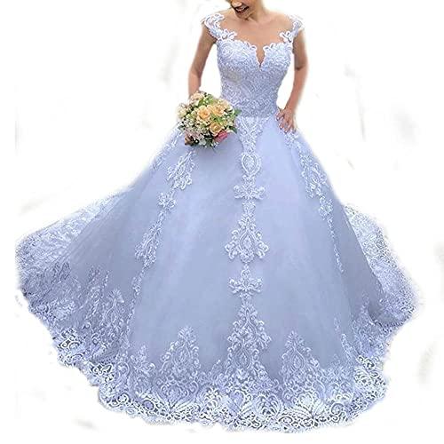 yhfshop Bal Mariage Cérémonie Robe de Soirée,2021 Nouvelle Robe de mariée en Dentelle Blanche-White_50,Grande Taille Robe de Soirée Femme