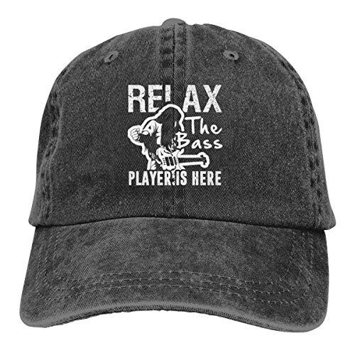 OPO-T Baseballmütze, Motiv: Relax The Bass Player is Here, klassische Vintage-Verwaschene Denim-Kappe