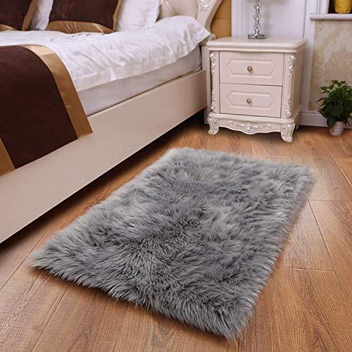 HEQUN Faux Lammfell Schaffell Teppich Flauschig Weiche Nachahmung Wolle Teppich Longhair Fell Optik Gemütliches Schaffell Bettvorleger Sofa Matte (Grau, 180 X 80 cm)