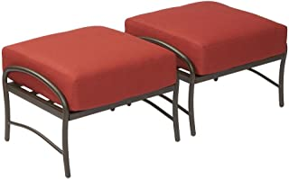 Hampton Bay Oak Cliff Metal Outdoor Ottoman with Chili Cushion (2-Pack)