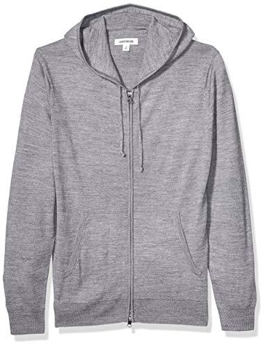 Goodthreads Merino Wool Fullzip Hoodie Sweater Pullover, grau meliert, M