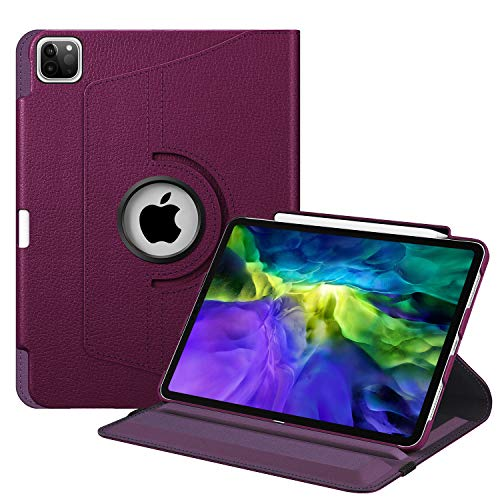 Fintie Case with Built-in Pencil Holder for iPad Pro 11' 2020 & 2018 [Support 2nd Gen Pencil Charging Mode] - 360 Degree Rotating Stand Protective Cover with Auto Sleep/Wake, Purple