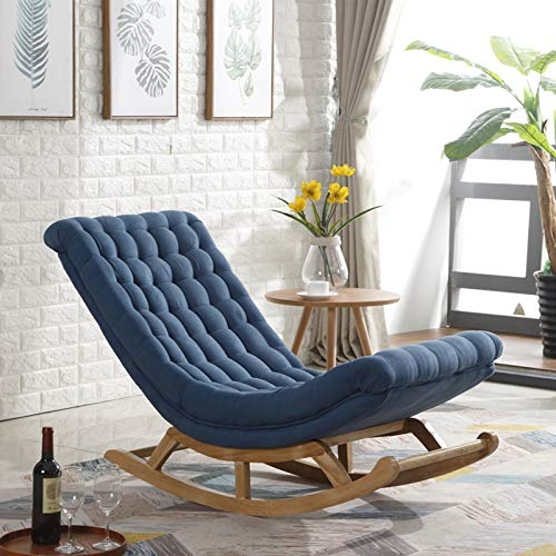 QSLS Schaukelstuhl Mit Hocker, Modern Armchair Mit Massivholzbeinen, Leisure Living Room Balkon Lazy Sofa,Dark Blue/Footstool