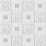 Ice-Beaut 10pcs 3D Adesivi Murali Stereo Autoadesivi Soffitto Pannelli Decorativi Tetto Schiuma Carta da Parati Soggiorno Complementi Arredo Casa Camera da Letto TV Sfondo 70X70cmX10pcs Gray