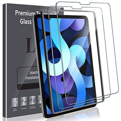 LK 2 Stück Schutzfolie Kompatibel mit iPad Air 4, 10.9 Zoll Bildschirmschutzfolie, iPad Air 2020 Folie mit Positionierhilfe, 9H Festigkeit, HD Klar Bildschirmschutz, Kratzen Blasenfrei