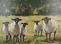 ブラシとアクリル顔料を使用したフレームレスデジタル絵画羊大人のためのDIYキャンバス絵画初心者の静物