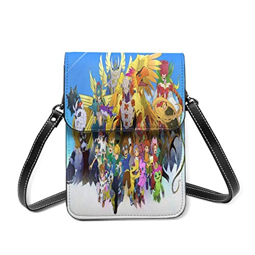 XCNGG Monedero pequeño para teléfono celular Anime Digimon Small Crossbody Coin Purse Phone Purse Mini Cell Phone Pouch Leather Smartphone Bags Purse,With Removable Shoulder Strap,Shoulder Bag