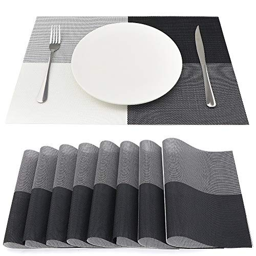 SueH Design Lot de 8 Sets de Table 45 * 30 CM Vinyle Tissé Gris