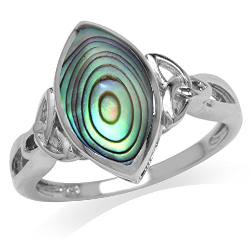 Silvershake Abalone Paua Shell White Gold Plated 925 Sterling Silver Triquetra Celtic Knot Ring Size 8