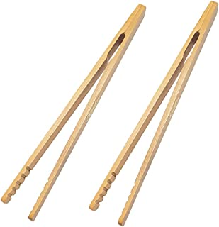 GKanMore 2 Pack 7 Inch Bamboo Kitchen Tongs for Toast Tea Bread Pickle Cooking (Style1-Straight)