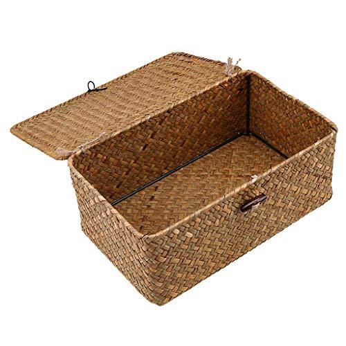 freneci Aufbewahrungsbox Seagras Box Korb mit Deckel Aufbewahrungskörbe für Badezimmer, Wohnzimmer, Küche - M