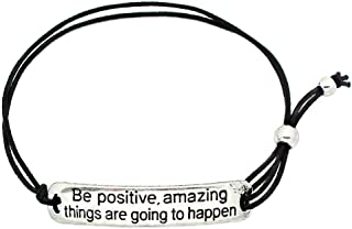 Be Positive, Amazing Things are Going to Happen' Inspirational Stretch Bracelet - One Size Fits All Motivational Bracelet with Engraved Plaque & Black Elastic