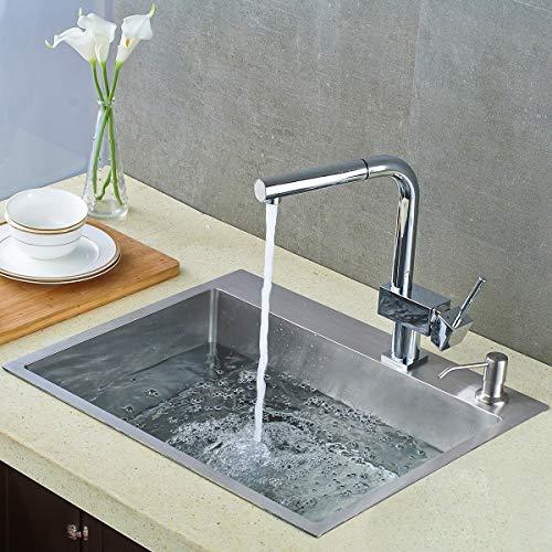ROVATE 21.6-inch Drop in Topmount Kitchen Sink, 304 Stainless Steel Single Bowl Handmade Kitchen/Bar Sink