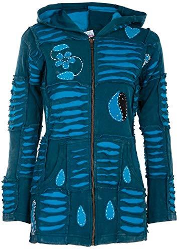 Spirit of Nepal - Chaqueta hippie para mujer azul L
