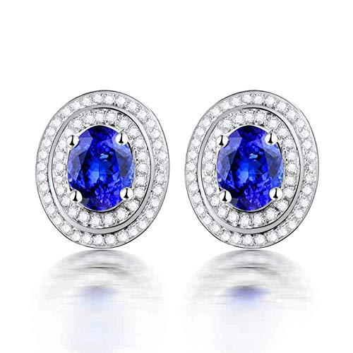Daesar Pendientes de Oro Blanco 18 Kilates Mujer,Oval Simple Tanzanita Azul 1.72ct Diamante 0.46ct,Plata Azul